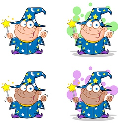 Wizard Boy Waving With Magic Wand Collection vector image