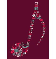 Dj music icons musical note vector