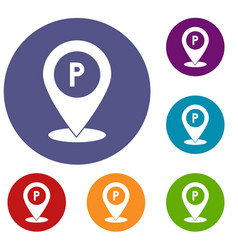 Map pointer with car parking sign icons set vector
