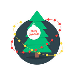 Merry christmas with xmas tree and garlands vector