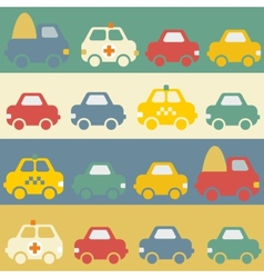 Seamless pattern with cartoon cars vector image