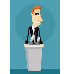 Cartoon office worker in a podium vector