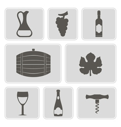 Monochrome icons with symbols of wine making vector