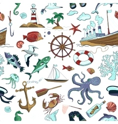Colored nautical or marine themed seamless pattern vector