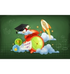 Wake up to school background vector