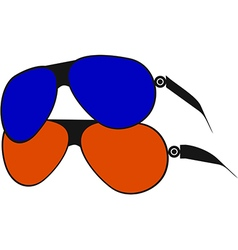 Pair of sunglasses in red and blue vector