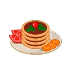 Pancakes with tomato vector