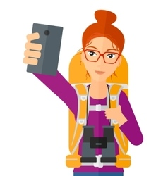 Woman making selfie vector
