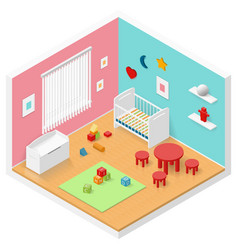 Child playroom isometric icon set vector
