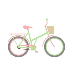 Stylish womens green bicycle isolated on white vector