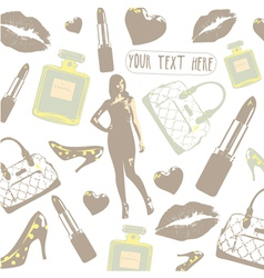 Vintage beauty fashion pattern vector