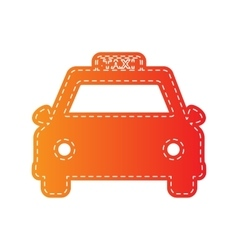 Taxi sign  orange applique isolated vector
