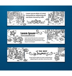 Doodles sea life horizontal banners vector