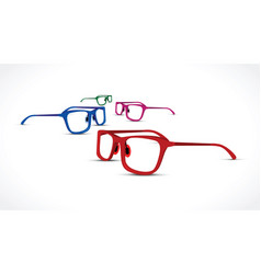a glasses set on white background vector image