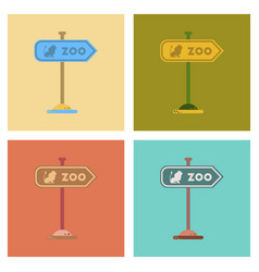Assembly flat icons zoo sign vector