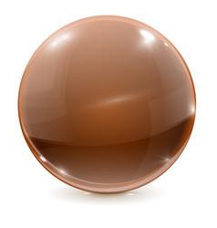 Brown ball shiny chocolate glass sphere vector