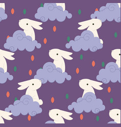 Chinese rabbit in clouds pattern for chinese mid vector