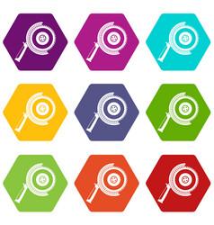circle saw icon set color hexahedron vector image