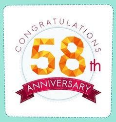 Colorful polygonal anniversary logo 3 058 vector