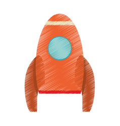 Drawing orange rocket space travel vector