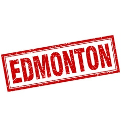 Edmonton red square grunge stamp on white vector