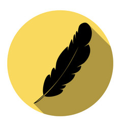 Feather sign flat black icon vector