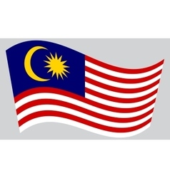Flag of malaysia waving on gray background vector