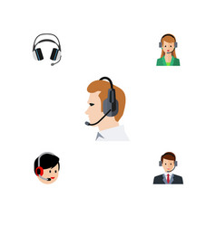 flat center set of telemarketing hotline vector image vector image