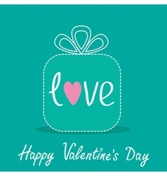 Gift box with word love dash line valentines day vector