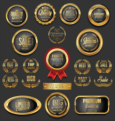golden badges and labels collection 11 vector image vector image
