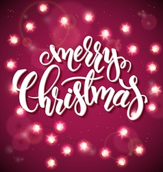 hand drawn lettering - merry christmas - with vector image