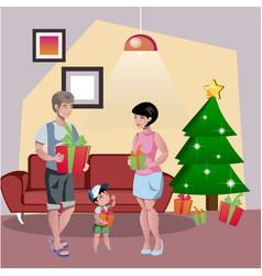 happy family decorates the christmas tree vector image