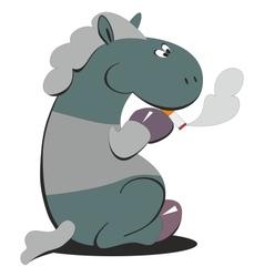 Horse smokes 007 vector image