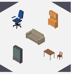 Isometric furniture set of cupboard sideboard vector