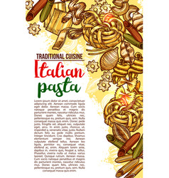 italian pasta restaurant menu sketch poster vector image