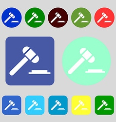 judge hammer icon 12 colored buttons Flat design vector image