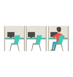 Line of similar cubicles with one person at work vector