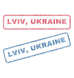 Lviv ukraine textile stamps vector