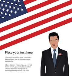 Man wearing suit usa flag vector