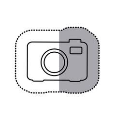 Monochrome contour sticker of analog camera vector