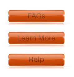 Orange long buttons learn more faqs help vector