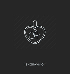 Pendant with engraving outline icon isolated vector