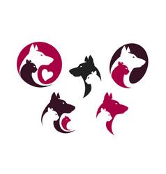 pet shop label set animals dog cat parrot icon vector image