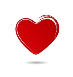 Red hand drawn heart isolated on white background vector image vector image