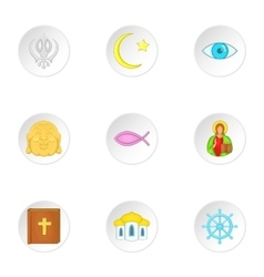 Religion icons set cartoon style vector