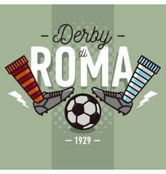 Rome derby in italian label design soccer boots vector