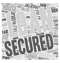 Secured loans equity text background wordcloud vector
