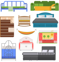 Sleeping furniture set vector