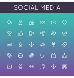 Social Media Line Icons vector image vector image