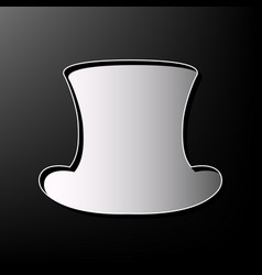 Top hat sign gray 3d printed icon on vector